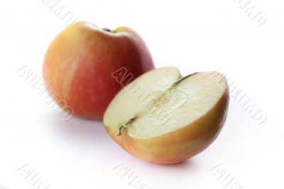 Cutted apple on white background