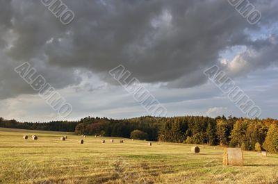 rural landscape before storm
