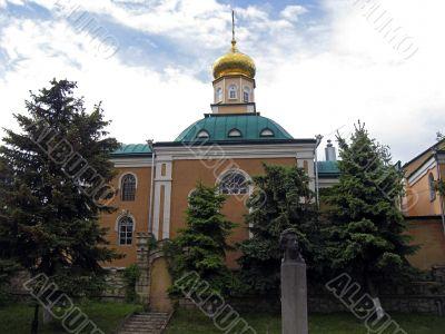 Christian church and Pushkin monument