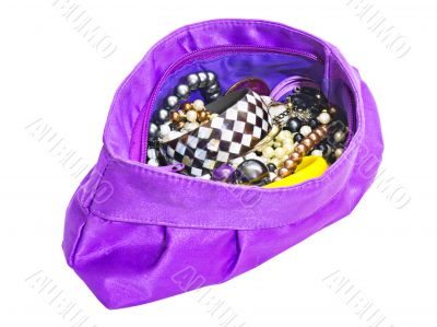 purple ladies handbag with jewelry