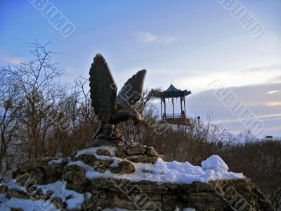 Two simbol of Pyatigorsk. Eagle and Chinesse arbor