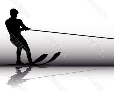 Silhouette Athlete water-skier