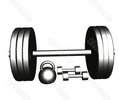 Steel dumbbells and barbell