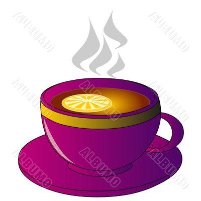 Hot tea with lemon in mug on