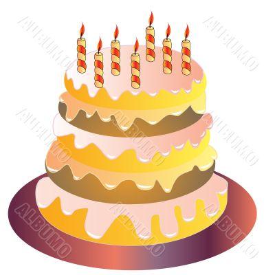 The Festive cake with burning candle