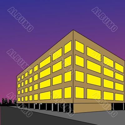 Luminous building on background