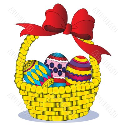 basket with egg and bow