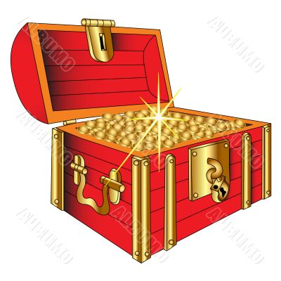Coffer with gold shining coin, insulated