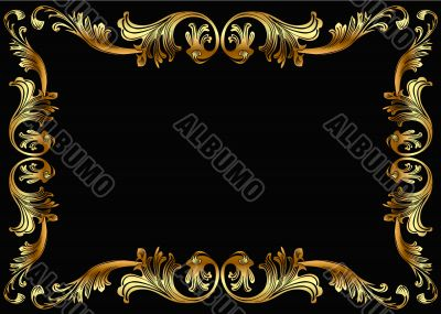 background frame with vegetable gold pattern