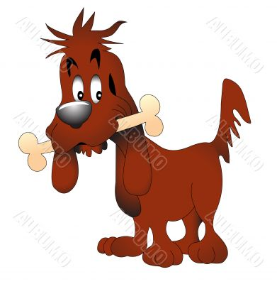 illustration amusing dog keeping bone