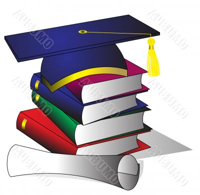 formation hat of the book and diploma
