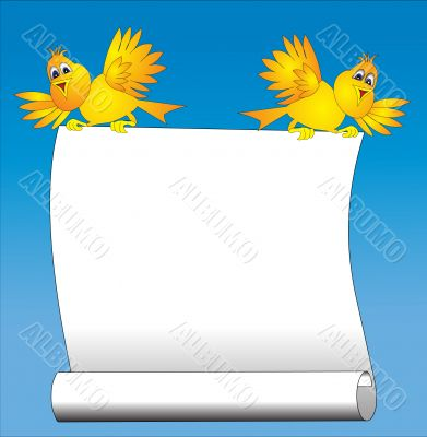 two amusing birds keeps paper