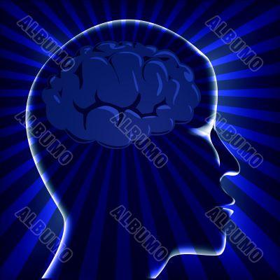 illustration brain human with ray on turn