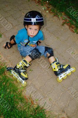 the boy fell roller skates