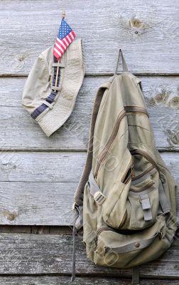 Khaki Hat, Backpack and US Flag