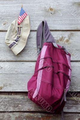 Khaki Hat, US flag and Magenta Backpack