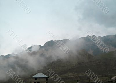 Caucas mountain under the mist