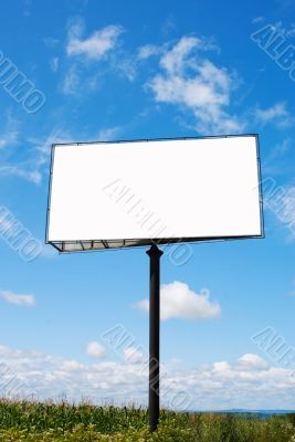Billboard with a copy space at a field