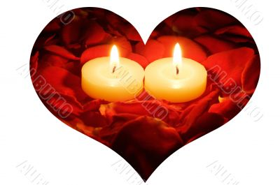 candles on rose petals in heart frame