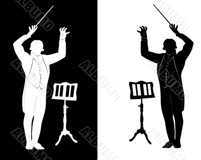 silhouette of conductor music stand