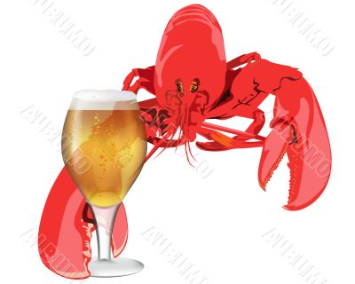 lobster with a glass of beer