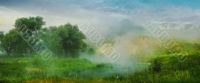 panorama - the trees, the river and the fog