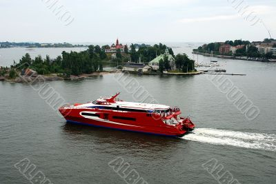 tourist vessel against islands