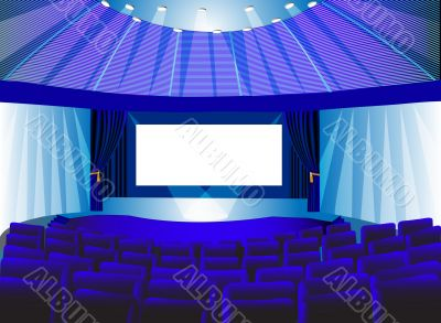 premises blue theater with screen