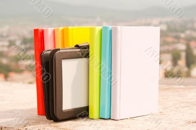 Row books with electronic book reader