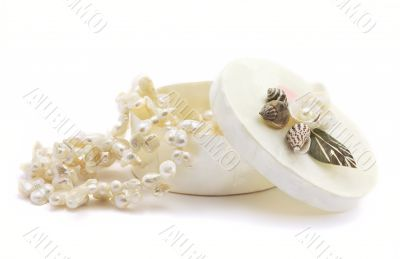 Open casket with pearls