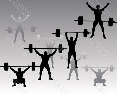 weightlifters on a gray background