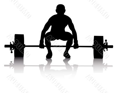 weight lifter on a white background