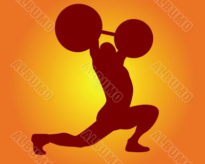 brown silhouette of a weight lifter
