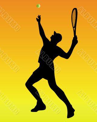 tennis player on an orange background