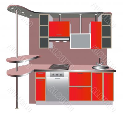 interior of the kitchens of the red