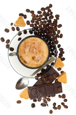 Cappuccino, brown sugar and coffee beans on white background