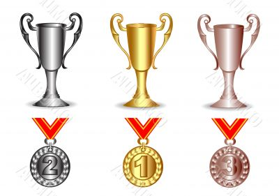 gold, silver, bronze cup and medals