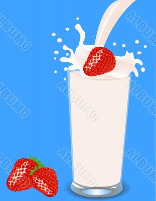 strawberries falls in milk