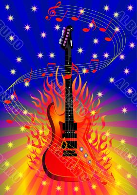music background with guitar and fire