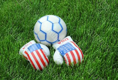 Boxing Gloves and Soccer Ball on Green Lawn