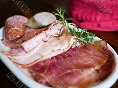 Breakfast with ham and sausage