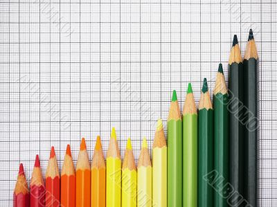 Colored Crayons on Checkered Paper