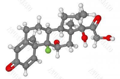 Ball and stick model of dexamethasone molecule
