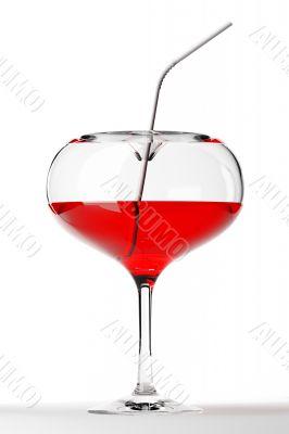 3d heart coctail glass