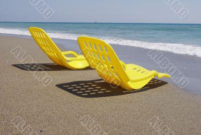 Two yellow beach chair