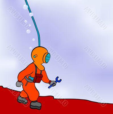 diver - repairer - vector