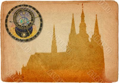 Prague castle in grunge style