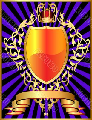 shield with corona and gold pattern