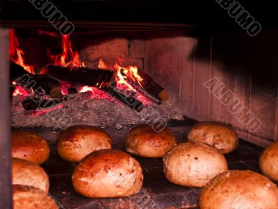 oven with  bread