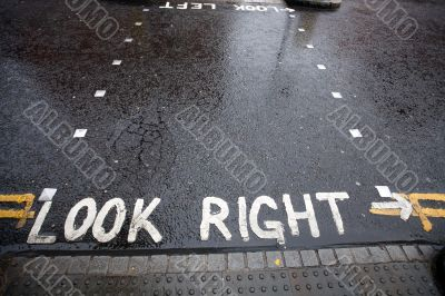 Look Right warning at a pedestrian crossing